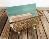 Reserved For May....Mid Century Brass Card Holder