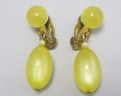 """SALE! Marked """"JAPAN"""" - Vintage Moonglow Lucite - Lemon Chiffon Yellow Earrings - Clip ons"""