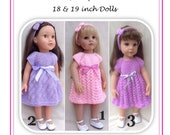 40  Teddie Babs and Joy, a Top Down Trio of dresses PDF Knitting Pattern to fit 18 and 19inch dolls