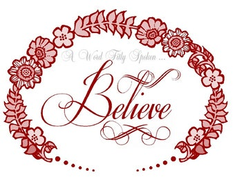 "CLEARANCE 5x7 Cream Fabric Patch ""Believe"" Christian Word Art, Red Sew-in Quilt Block for Pillow Art, Home Decor, Christian Gift FB-785"
