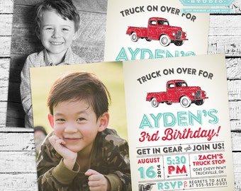 Vintage Truck Photo Invitation + Thank You Note