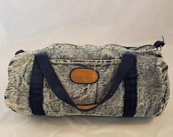 "Vintage Class Act Acidwash Stonewash Purse Handmade Blue Denim Duffel Bag 15"" x 10"" x 7.5"" 80s"