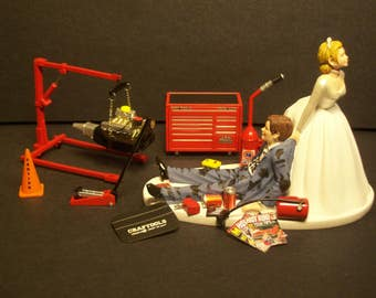 AUTO MECHANIC Tool Set W/Engine Hoist Stand Mac set Bride and Groom Wedding Cake Topper Funny Grooms Cake