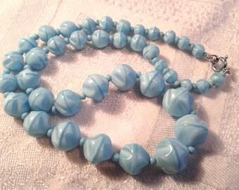 Vintage 50s Blue Satin Glass Bead Necklace.