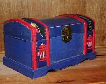 Firefighter Trinket Box For Boys -  Blue and Red - Kidzz Collection - Chest, Vintage, Toy Box, Toy Storage, Boys Room Decor, For Boys