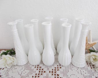 Vintage White Milk Glass Vase Set Instant Wedding Reception Centerpiece Table Decoration Collection Shabby Chic Country Cottage Home Decor