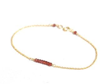 GoldFilled/Silver: Tiny Garnet gold bracelet, Garnet bar bracelet, January Birthstone Jewelry