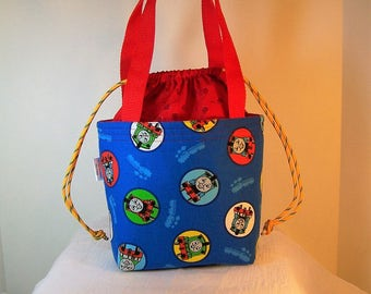 "Insulated Lunch Bag, 4""by7"" Drawstring Lunch Box, Blue Thomas the Train Lunch Bag, Cosmetic Sack, Lunchbag"