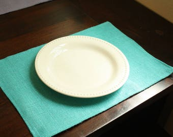 Teal or Lavender Burlap Placemat - Muslin Lined
