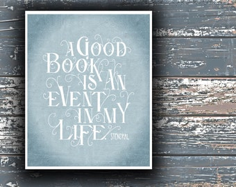 BOOK Print, Handlettering, Stendhal Quote Hand Lettered, Quote Print, Book Poster, Gift for Reader, We, Nursery Decor, Literary Print