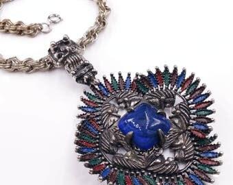 Designer Larry Vrba for Castlecliff Aztec Mayan Warrior Medallion Pendant Necklace Blue Glass Enamel