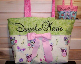 Reversible Diaper bag, handbag, purse, book bag..Owls-My Pony N Sparkle..with name, choose end pockets and a font style. Customize.