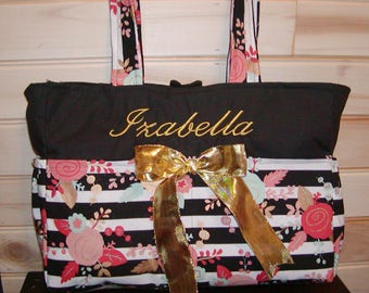 Diaper bag, handbag, purse, book bag..Floral N Black N Gold..Add end pocket. Customize to match carseat canopy(see fashionfairytales).