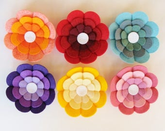 Big Blooms Wool Felt Blend Shaped Flower Blooms Set of 6