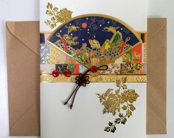Blue Traditional Fan with a Crane Design and Knot Card - Korean Traditional Design