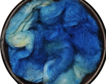 Hand painted Silk Hankies - Silk spinning / knitting / felting fiber, 6 g - Persei Nebula