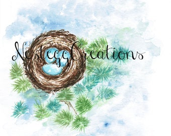 Original Watercolor Painting Nest with Blue Eggs Wall Art Handmade