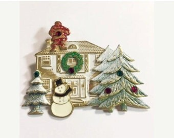 Vintage Christmas Decorated House Brooch