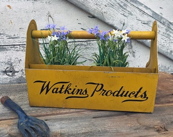 Reserved for Bernice -Vintage Watkins Products Salesman Sample Metal Carrier or Tote - Yellow / Gold - Advertising