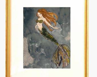Green Mermaid Collage, Mixed Media, Fashion Illustration, Watercolor Original Art Work