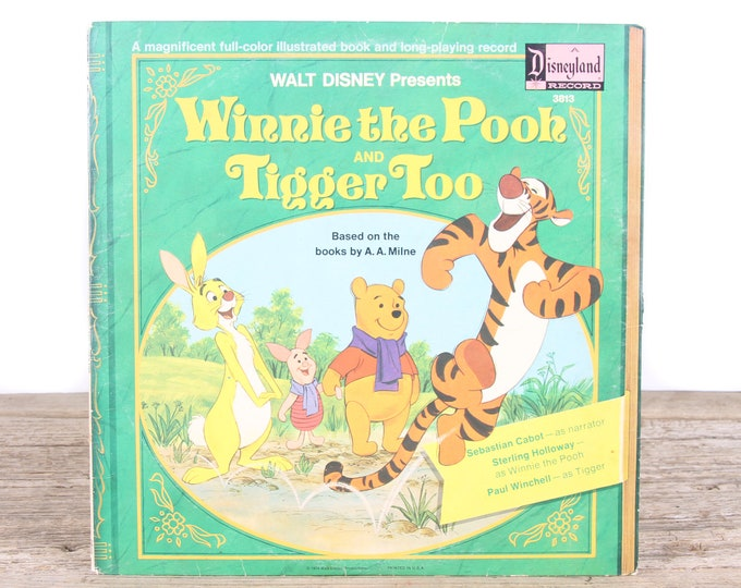 Vintage 1974 Walt Disney's Winnie the Pooh Record / A Disneyland Record 3813 / Antique Vinyl Records / Old Records / Kids Movie Room Decor