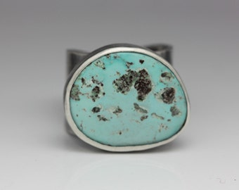 Bisbee Turquoise Ring, Sterling Silver Ring, Bisbee Turquoise, Unisex Statement Ring, Adjustable Size 9