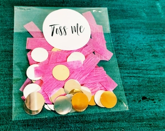 Wedding Confetti, Wedding Toss Confetti, Pink and Gold Confetti, Bridal Shower Confetti, 100 PIECES in each packet, 10 PACKETS included