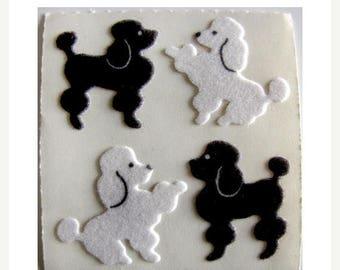 SALE Poodle Vintage Sandylion Fuzzy Stickers - 80's Dog Breed Puppy