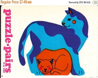 SALE Rare Vintage Illuminations Puzzle Pairs Adorable Cats Sticker 1983 Mother and Child Kitten