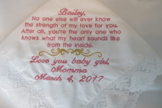 Wedding Handkerchief for the Bride from her Mother