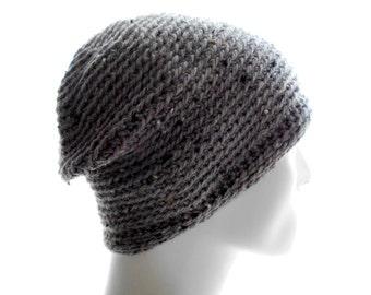 Merino Alpaca Hat, Men's Crochet Beanie, Smoky Gray Beanie, Tweed Beanie, Small to Medium Size