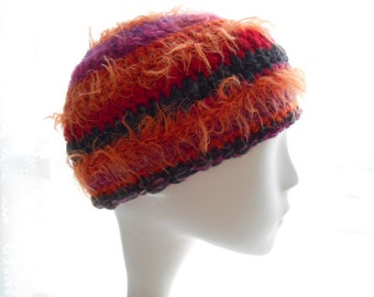 Furry Wool - Blend Beanie, Crochet Beanie Hat, Women's Striped Beanie Hat, Medium to Large Size