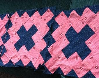 ANTIQUE QUILT BLOCKS, vintage fabric, calicoes, hand sewn, c1900, graphic, great color
