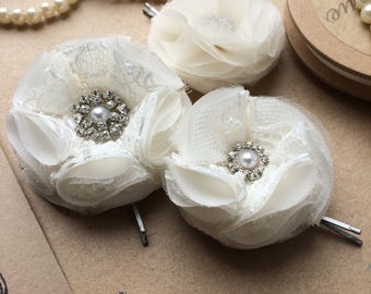 Bridal Silk and Lace Hair Flower Clips