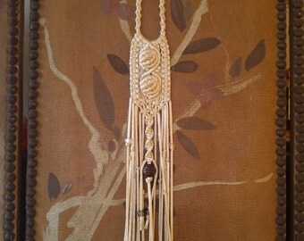 70s hippie boho macrame super long necklace