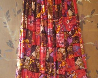 70s velvet patchwork maxi skirt