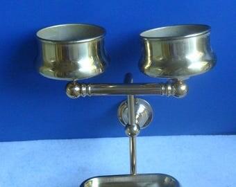 Vintage Brass Soap Dish toothbrush & Cup Holder Estate Find