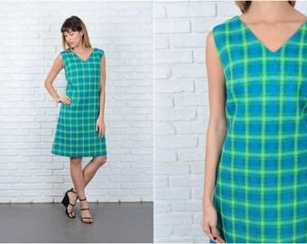 Vintage 60s 70s Green + Blue Wool Dress Mod Plaid Striped A-Line Medium M 8930