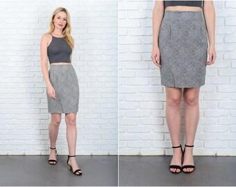 Vintage 80s 90s Black Mini Skirt White Damask Print High waist XS 9441