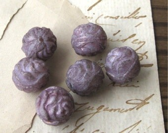Opaque Purple Pressed Glass Rose Beads 13mm Czech Matte Finish New (6)