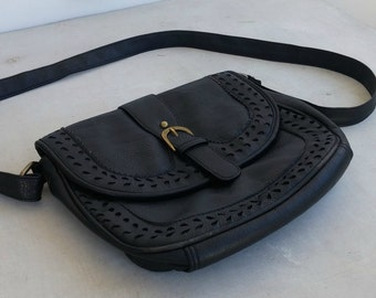 Black Leather Saddle Bag, Vintage Shoulder Handbag, Adjustable Handle Crossbody Coach Purse, 80s Woman Bag