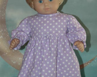 American, made, doll, pajamas, flannel, nightgown, bitty, 15 inch doll