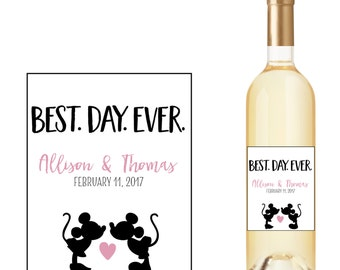 Wedding Wine Bottle Labels with Mickey Mouse Kissing Minnie Mouse