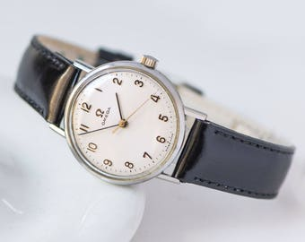 Tomboy watch Omega, classical Swiss watch Ω, unisex watch, minimalist watch wavy face, best brand watch her, new premium leather strap