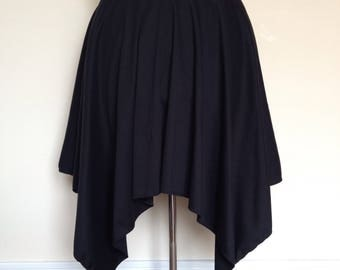 Black Jersey Hanky Hem Skirt