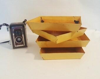 Vintage Kodak Company  Film Developing Trays Home Craft Storage Industrial Decor Yellow Kodak Company Retro Decor Storage Tins Metal Bins