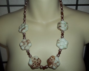 New Brown & White Glazed Porcelain Flower Necklace With Pearls, Ceramic Beads and Swarovski Crystals