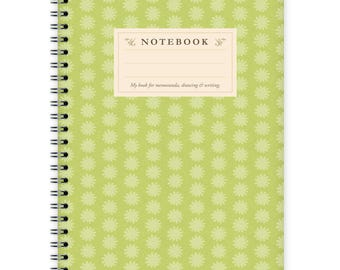 Notebook A5 - Green Flower Pattern