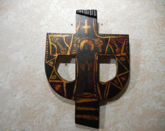 Hand Made and Painted Wooden Religious Icon Byzantine Cross