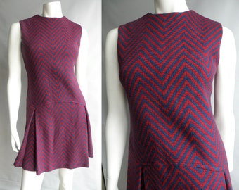 50s 60s Blue and Red Zig Zag Chevron Striped Mod Dress Drop Waist Flapper Style - M